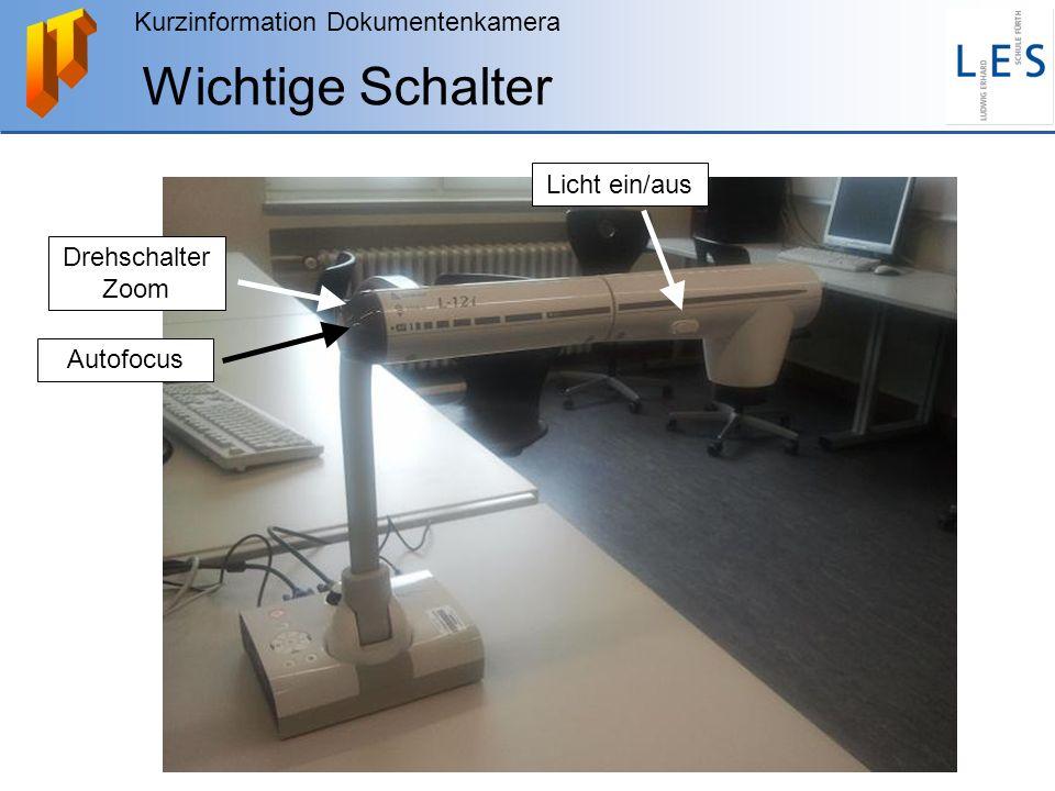 Wichtige Schalter Licht ein/aus Drehschalter Zoom Autofocus
