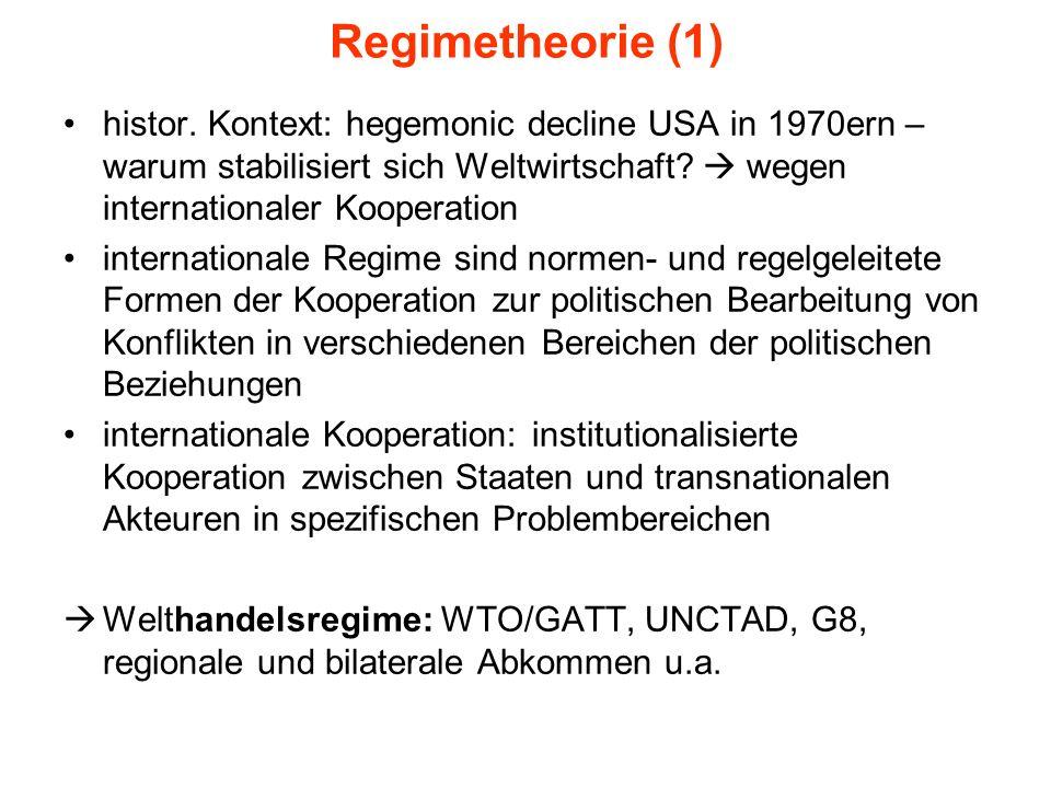 Regimetheorie (1) histor. Kontext: hegemonic decline USA in 1970ern – warum stabilisiert sich Weltwirtschaft  wegen internationaler Kooperation.