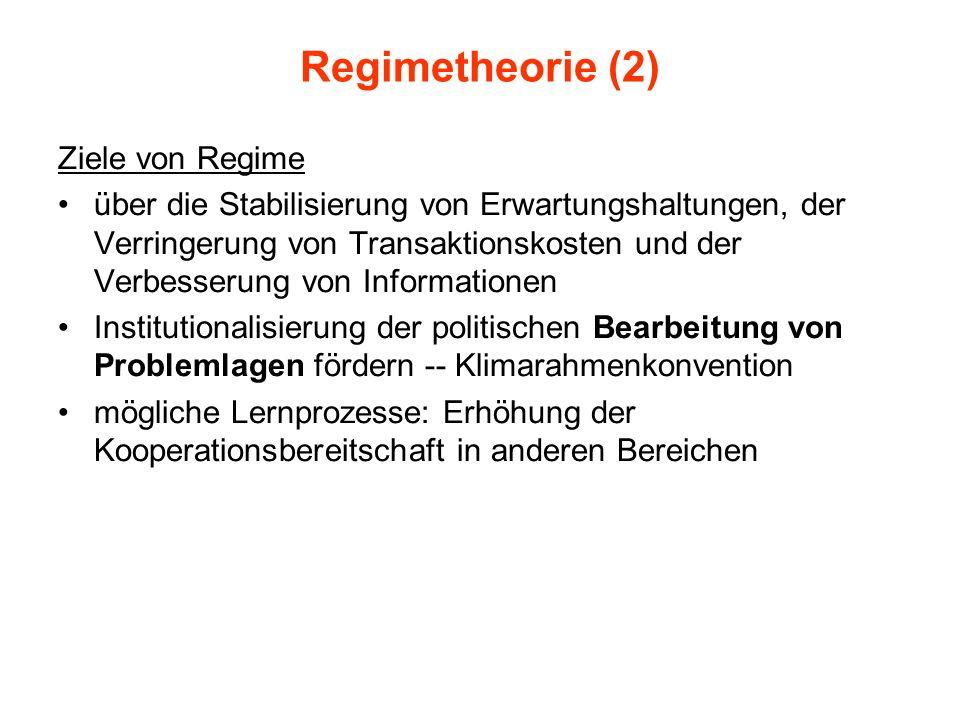 Regimetheorie (2) Ziele von Regime