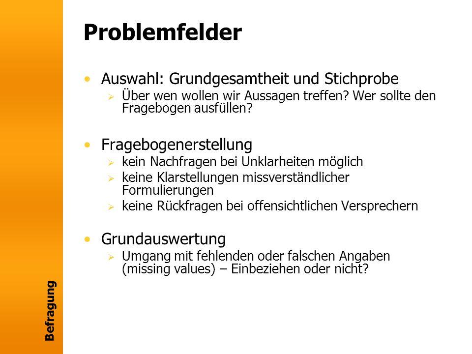 Problemfelder Auswahl: Grundgesamtheit und Stichprobe