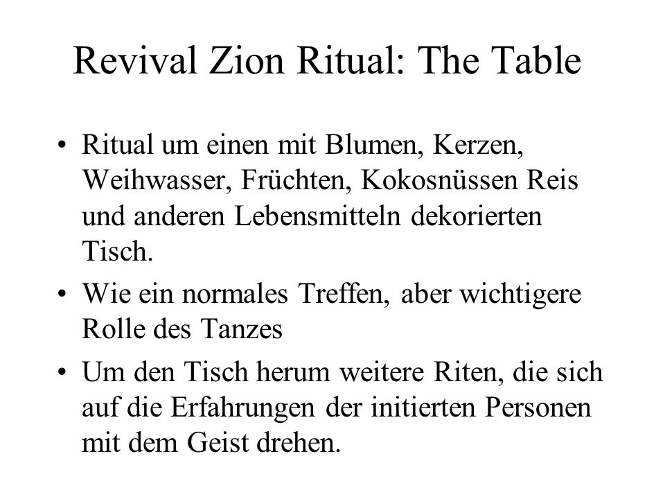 Revival Zion Ritual: The Table