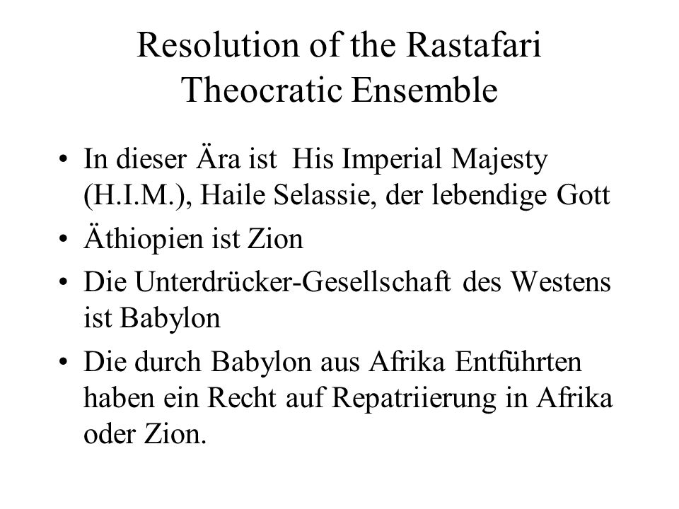Resolution of the Rastafari Theocratic Ensemble