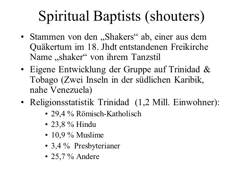 Spiritual Baptists (shouters)
