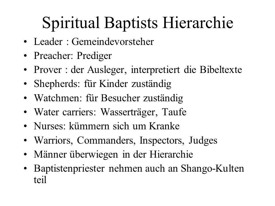 Spiritual Baptists Hierarchie