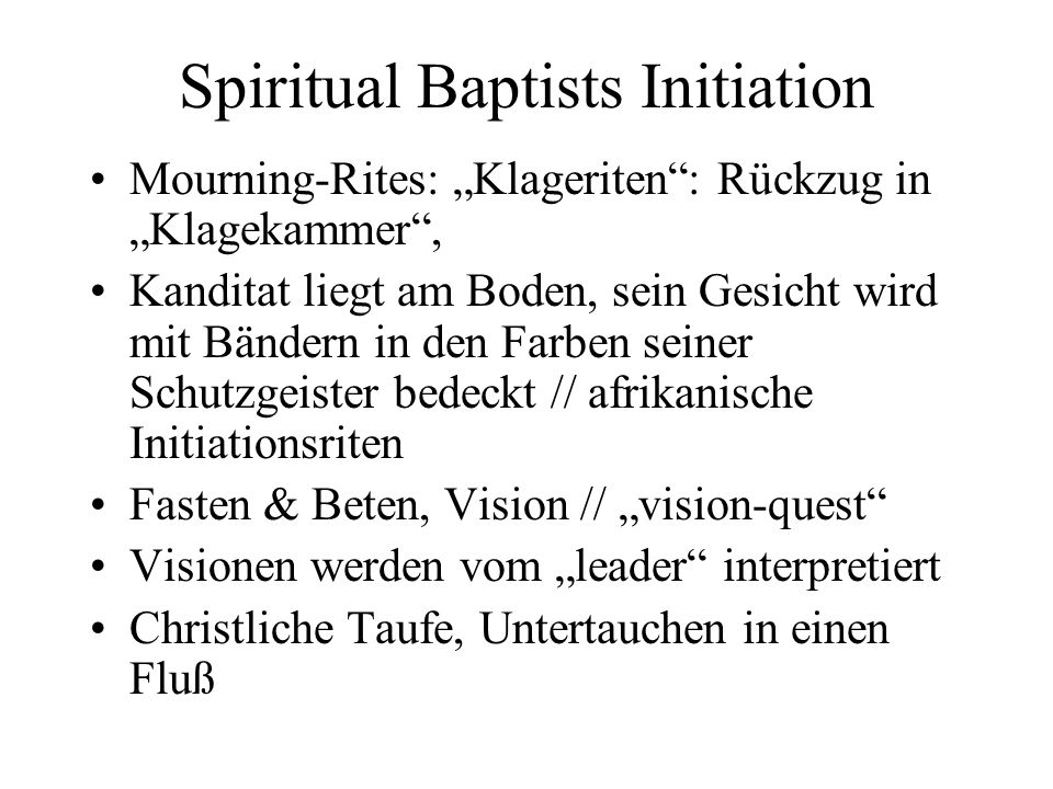 Spiritual Baptists Initiation
