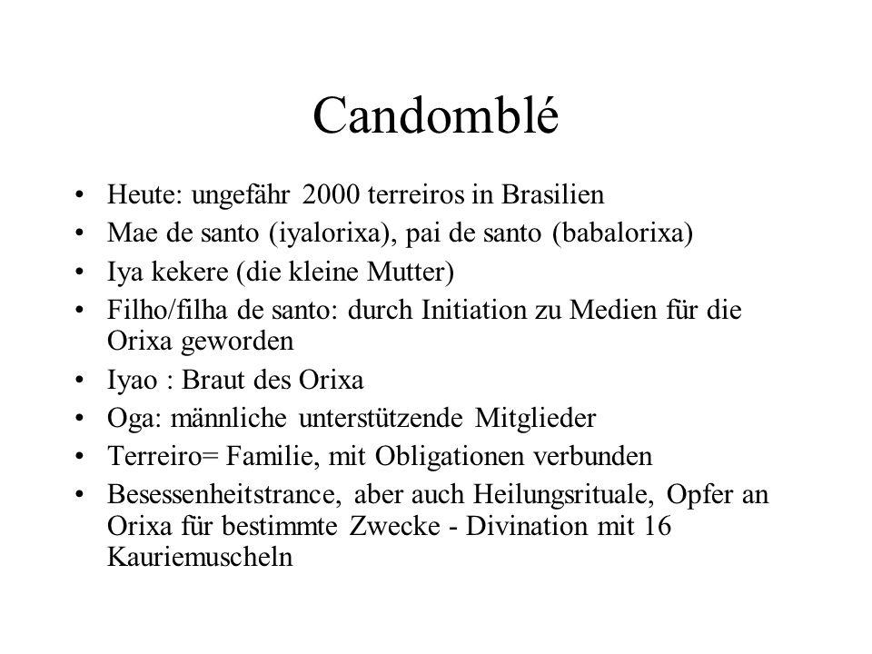 Candomblé Heute: ungefähr 2000 terreiros in Brasilien