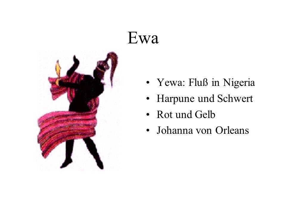 Ewa Yewa: Fluß in Nigeria Harpune und Schwert Rot und Gelb