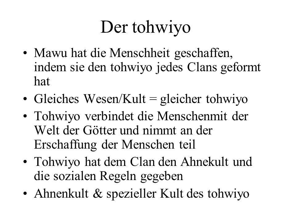 Der tohwiyo Mawu hat die Menschheit geschaffen, indem sie den tohwiyo jedes Clans geformt hat. Gleiches Wesen/Kult = gleicher tohwiyo.