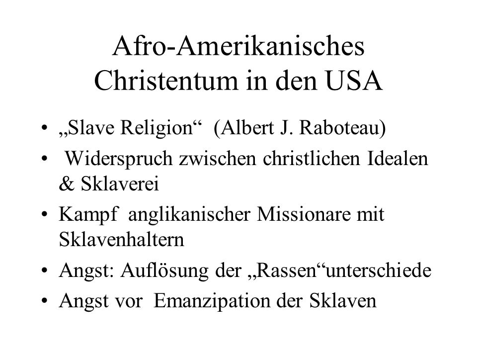 Afro-Amerikanisches Christentum in den USA