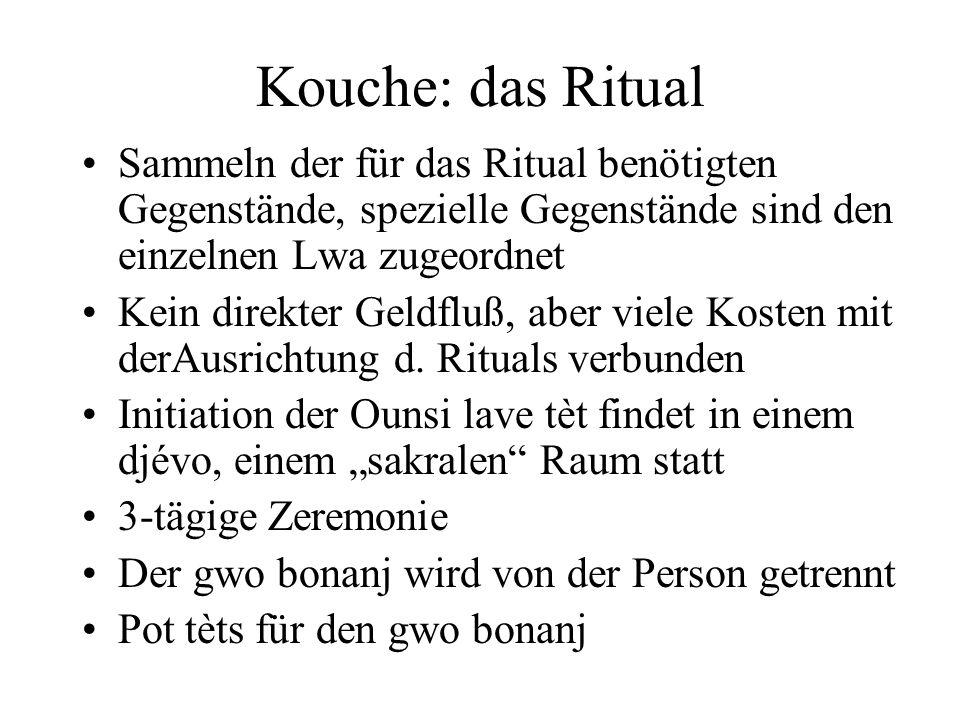 Kouche: das Ritual Sammeln der für das Ritual benötigten Gegenstände, spezielle Gegenstände sind den einzelnen Lwa zugeordnet.