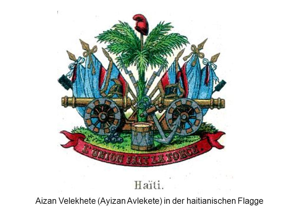 Aizan Velekhete (Ayizan Avlekete) in der haitianischen Flagge