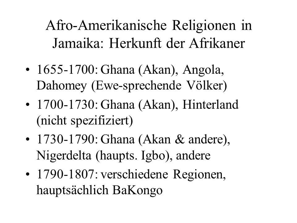 Afro-Amerikanische Religionen in Jamaika: Herkunft der Afrikaner