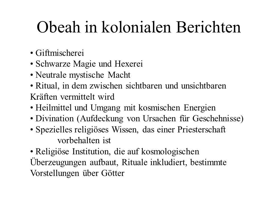 Obeah in kolonialen Berichten