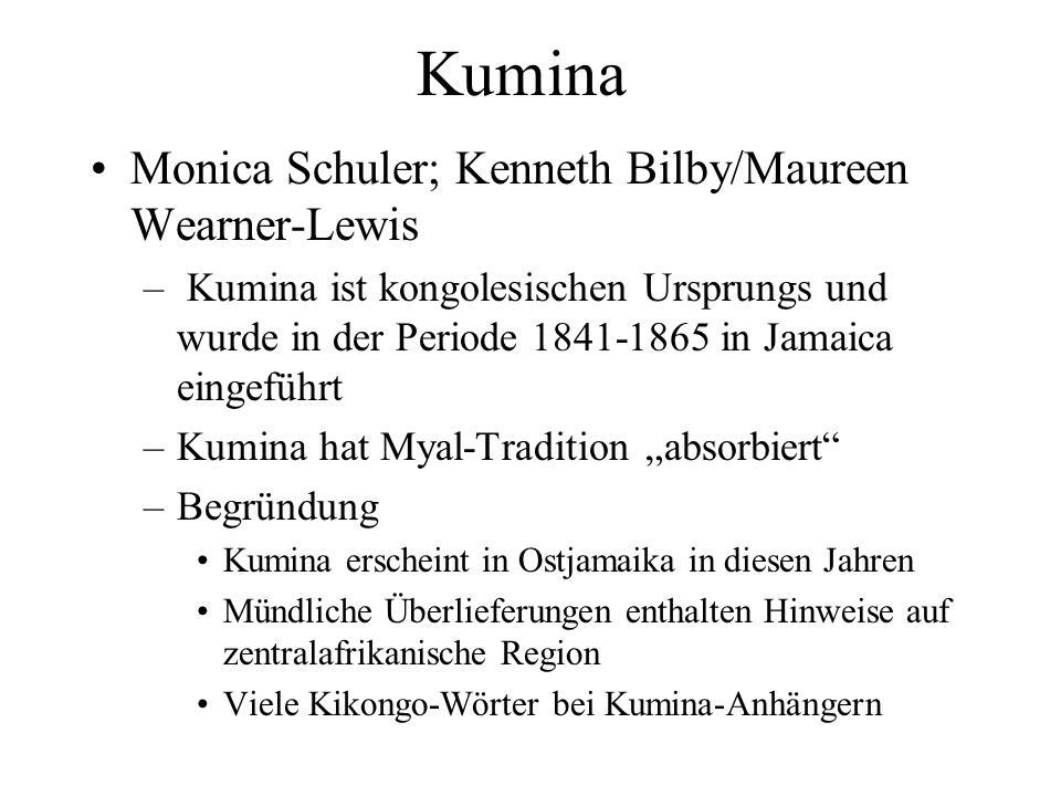 Kumina Monica Schuler; Kenneth Bilby/Maureen Wearner-Lewis