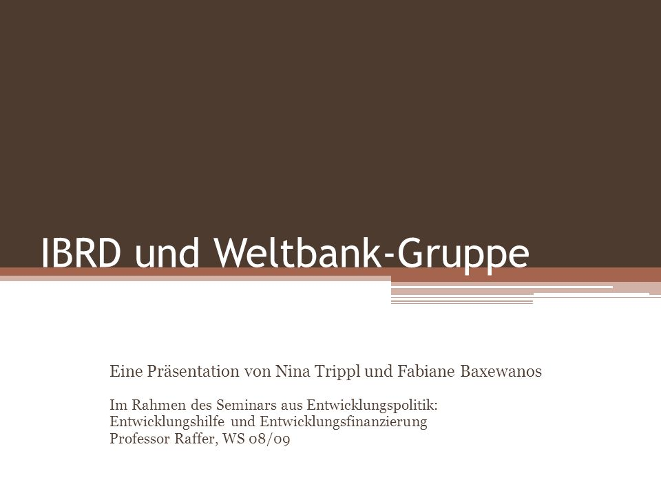 IBRD und Weltbank-Gruppe