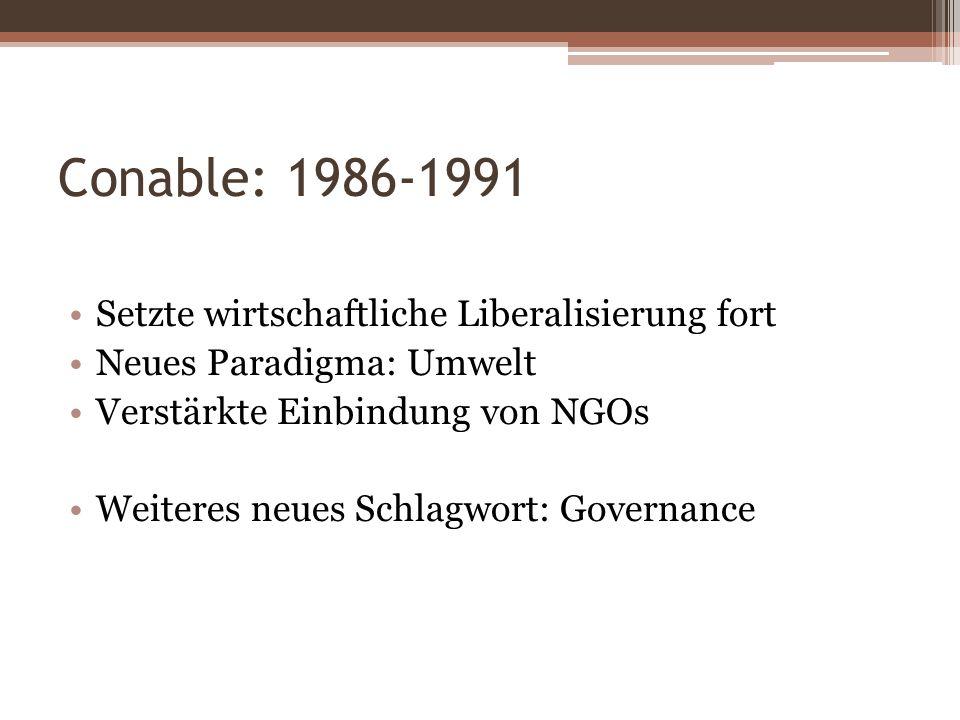 Conable: 1986-1991 Setzte wirtschaftliche Liberalisierung fort