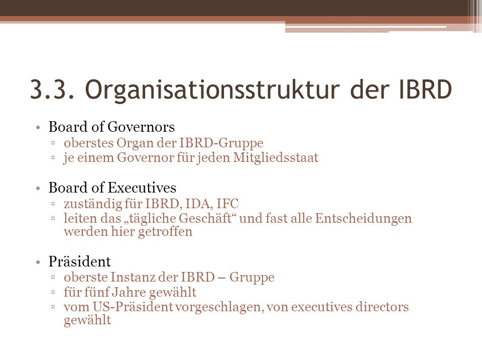 3.3. Organisationsstruktur der IBRD