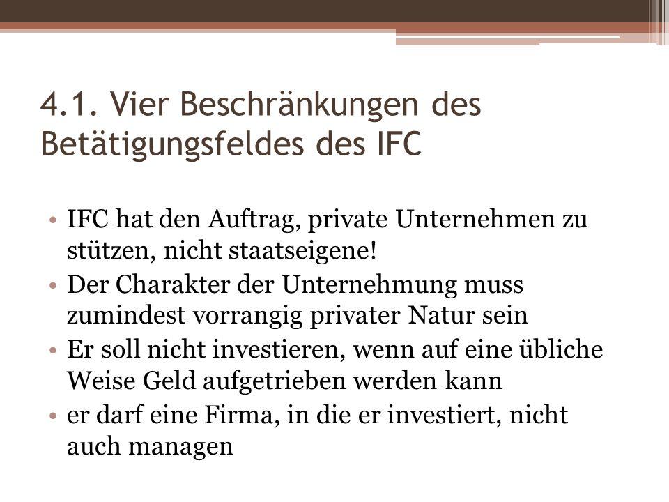 4.1. Vier Beschränkungen des Betätigungsfeldes des IFC