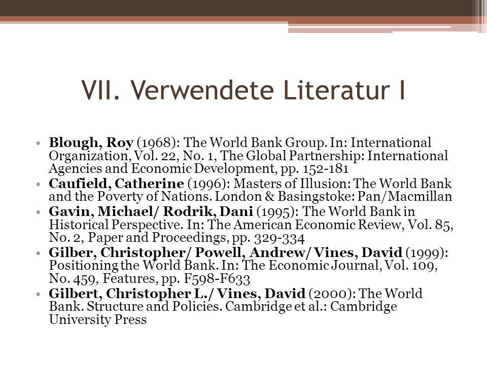 VII. Verwendete Literatur I