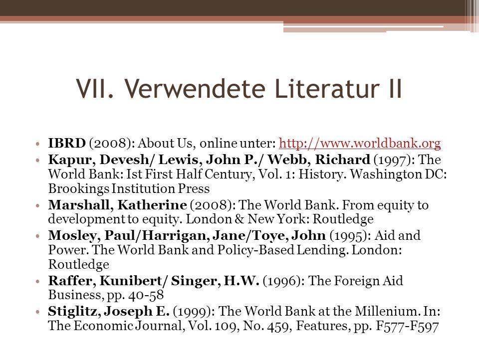VII. Verwendete Literatur II