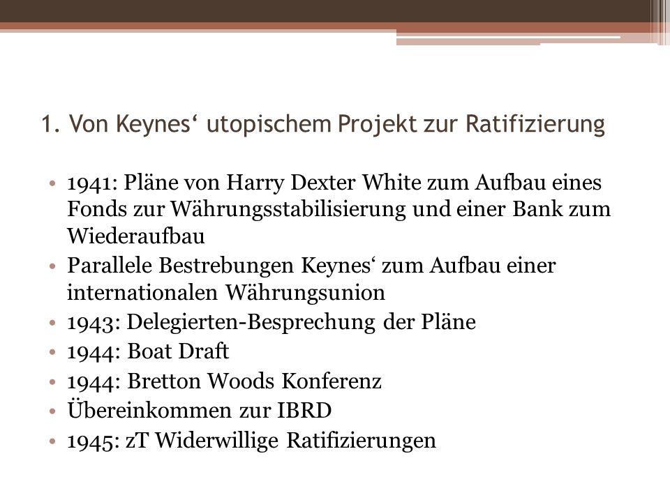 1. Von Keynes' utopischem Projekt zur Ratifizierung