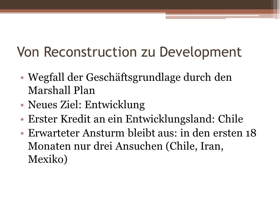 Von Reconstruction zu Development