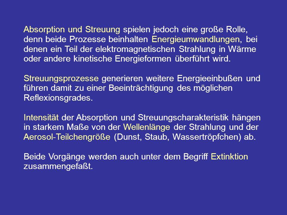 Absorption und Streuung spielen jedoch eine große Rolle, denn beide Prozesse beinhalten Energieumwandlungen, bei denen ein Teil der elektromagnetischen Strahlung in Wärme oder andere kinetische Energieformen überführt wird.