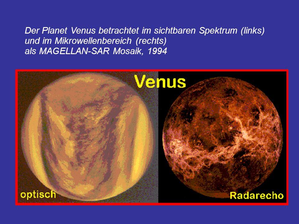 Der Planet Venus betrachtet im sichtbaren Spektrum (links) und im Mikrowellenbereich (rechts)