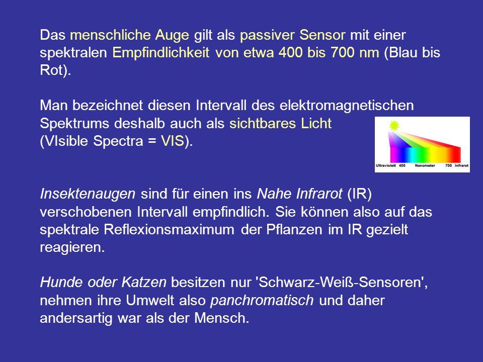 Das menschliche Auge gilt als passiver Sensor mit einer spektralen Empfindlichkeit von etwa 400 bis 700 nm (Blau bis Rot).
