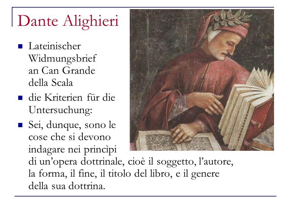 Dante Alighieri Lateinischer Widmungsbrief an Can Grande della Scala