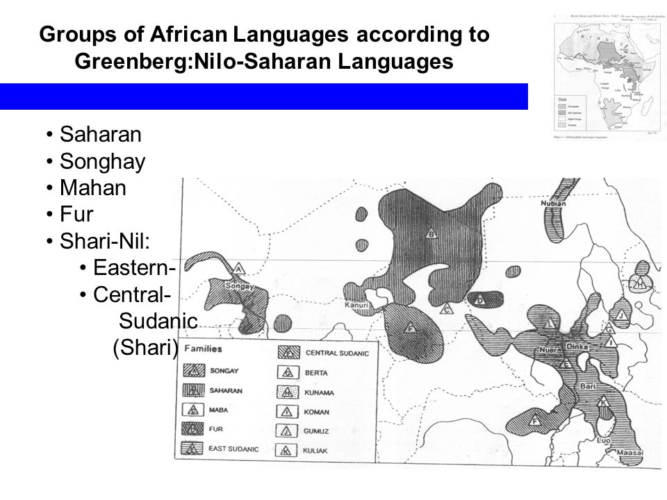 Groups of African Languages according to Greenberg:Nilo-Saharan Languages