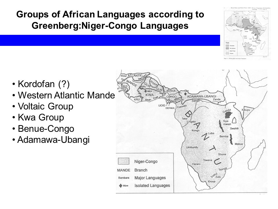 Groups of African Languages according to Greenberg:Niger-Congo Languages