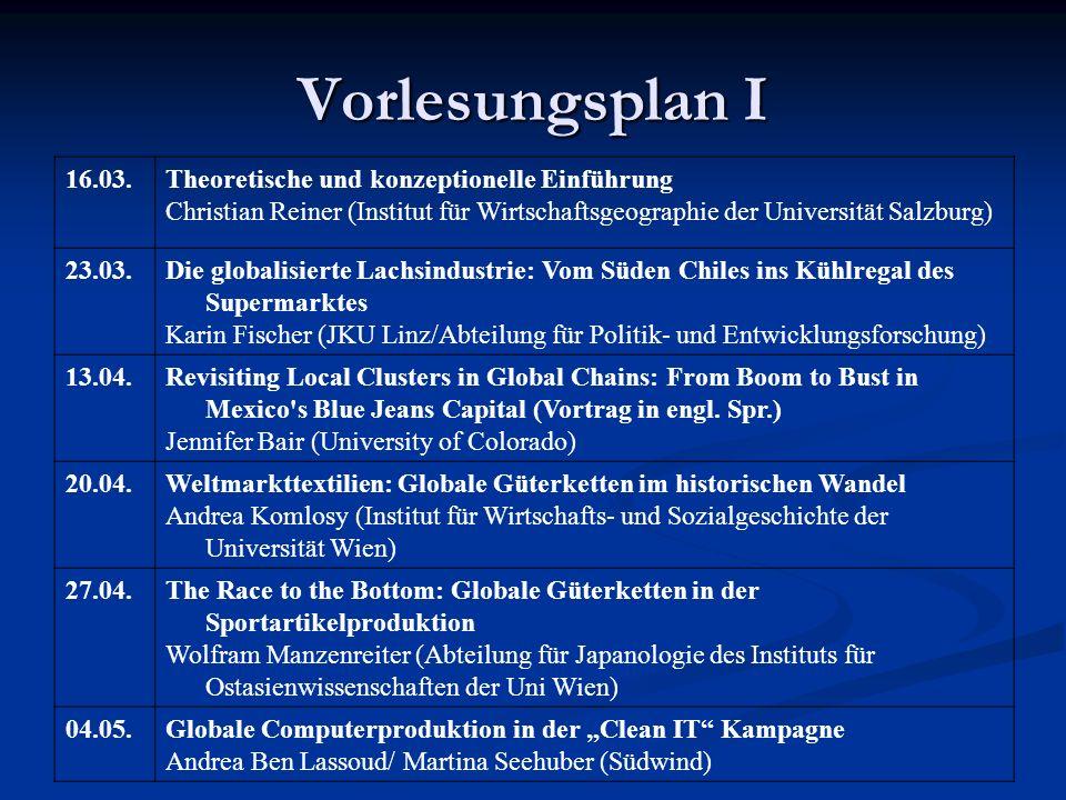 Vorlesungsplan I 16.03. Theoretische und konzeptionelle Einführung
