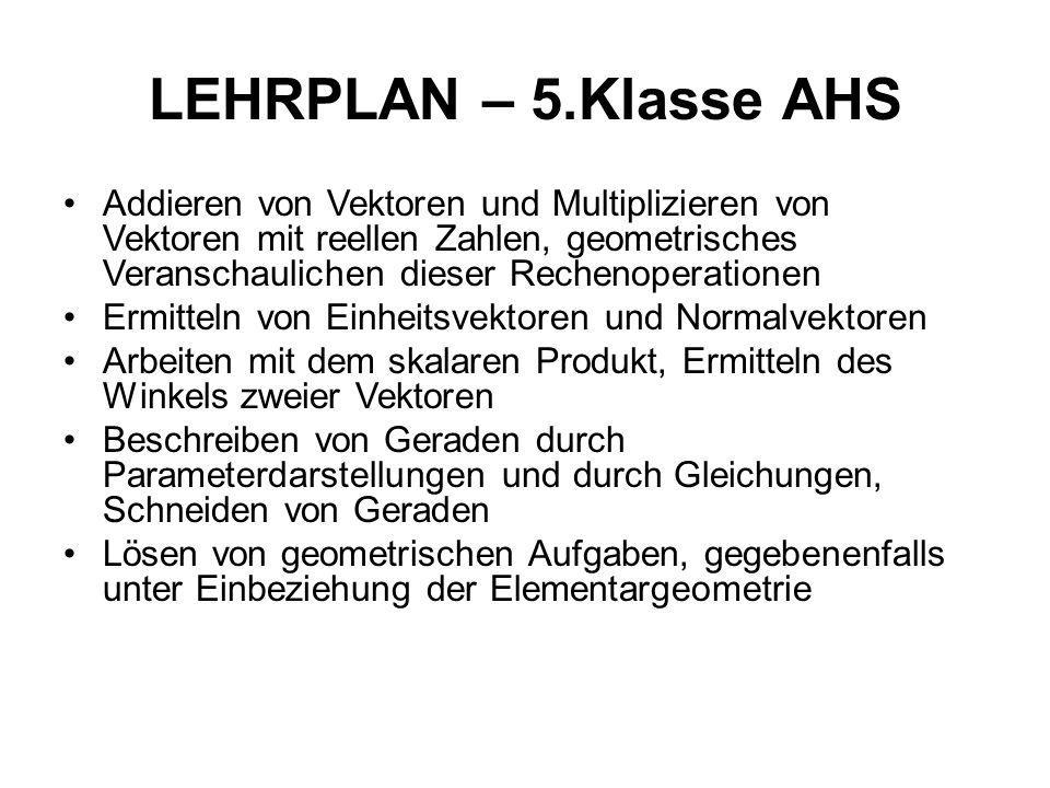 LEHRPLAN – 5.Klasse AHS