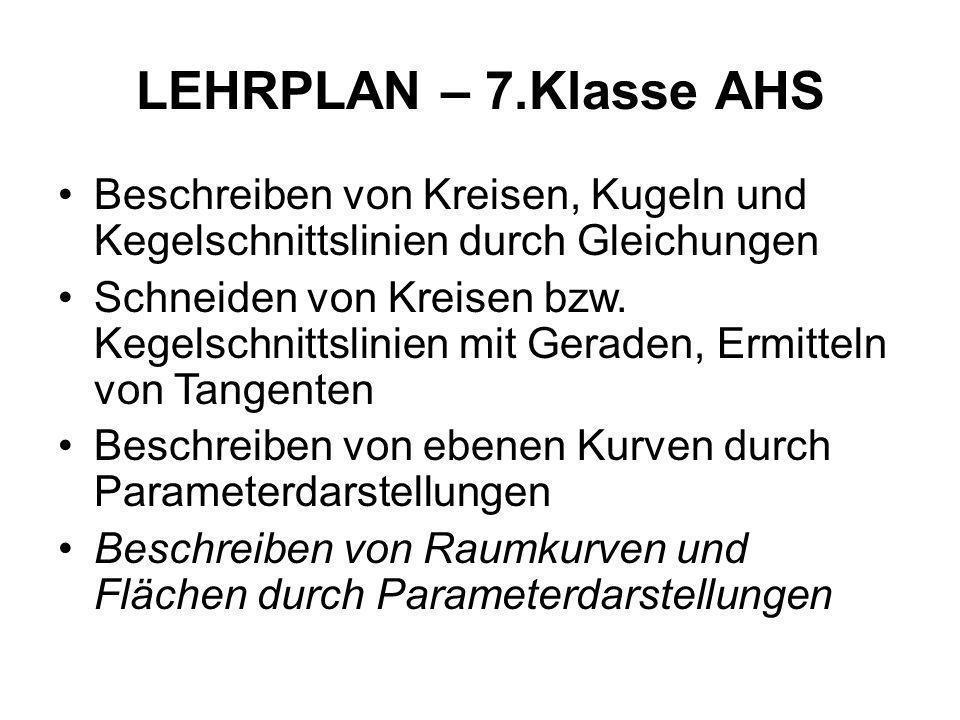 LEHRPLAN – 7.Klasse AHS Beschreiben von Kreisen, Kugeln und Kegelschnittslinien durch Gleichungen.