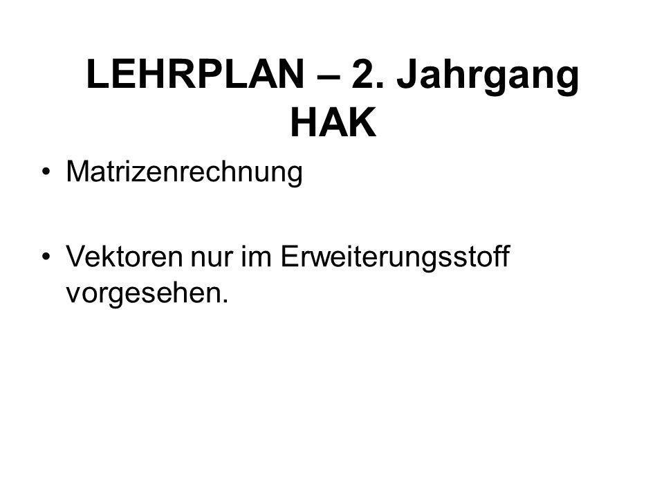 LEHRPLAN – 2. Jahrgang HAK