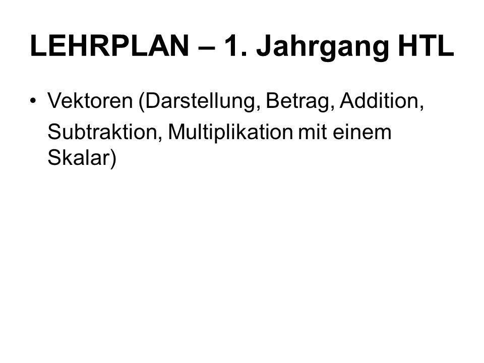 LEHRPLAN – 1. Jahrgang HTL