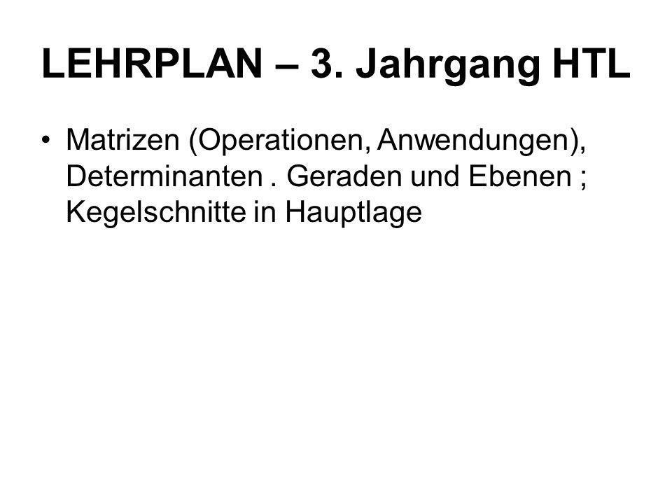 LEHRPLAN – 3. Jahrgang HTL
