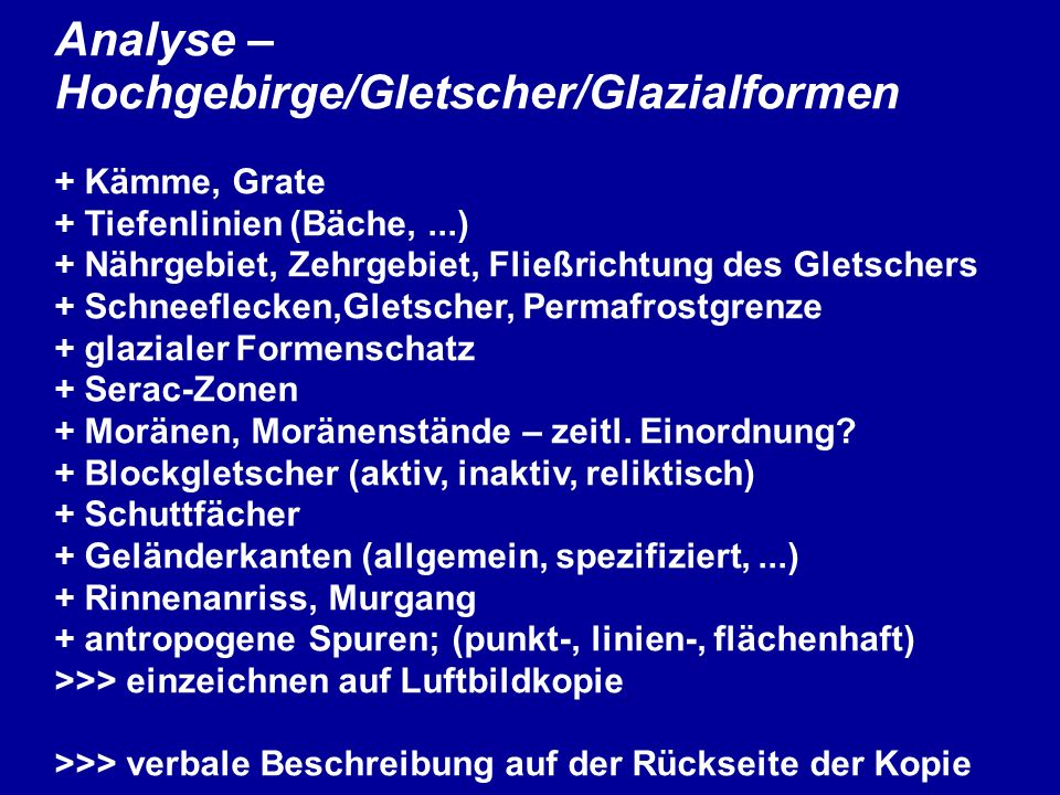 Analyse – Hochgebirge/Gletscher/Glazialformen