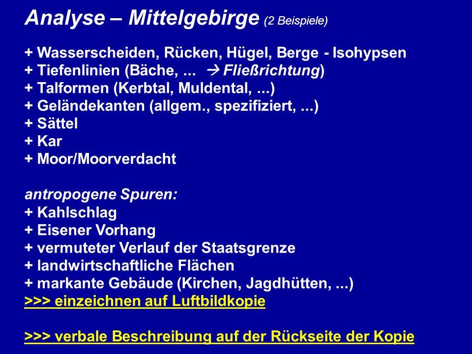Analyse – Mittelgebirge (2 Beispiele)