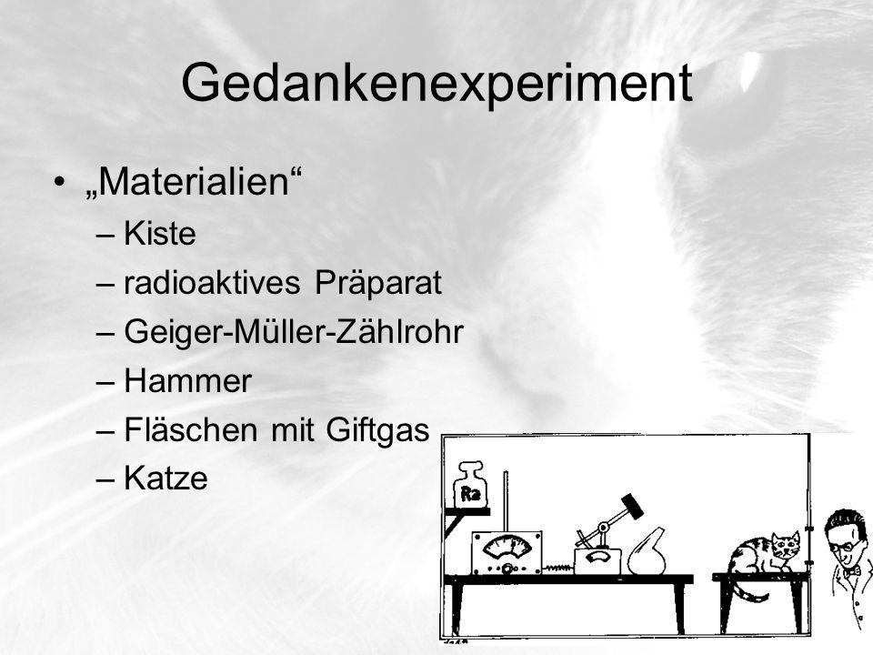 """Gedankenexperiment """"Materialien Kiste radioaktives Präparat"""