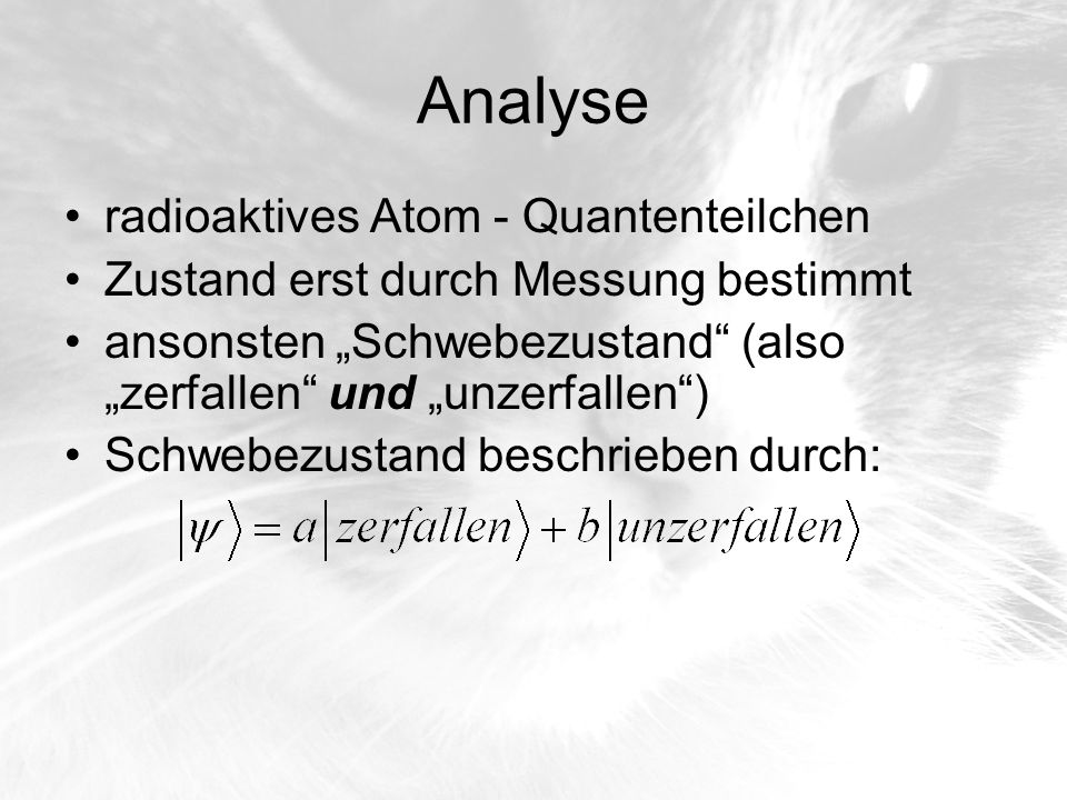 Analyse radioaktives Atom - Quantenteilchen