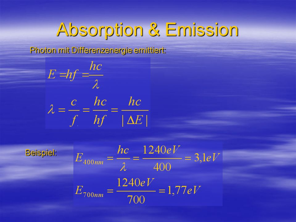 Absorption & Emission Photon mit Differenzenergie emittiert: Beispiel:
