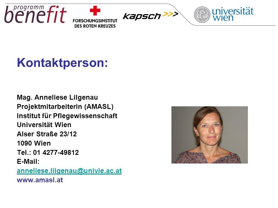 Kontaktperson: Mag. Anneliese Lilgenau Projektmitarbeiterin (AMASL)