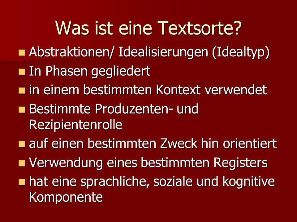 Was ist eine Textsorte Abstraktionen/ Idealisierungen (Idealtyp)
