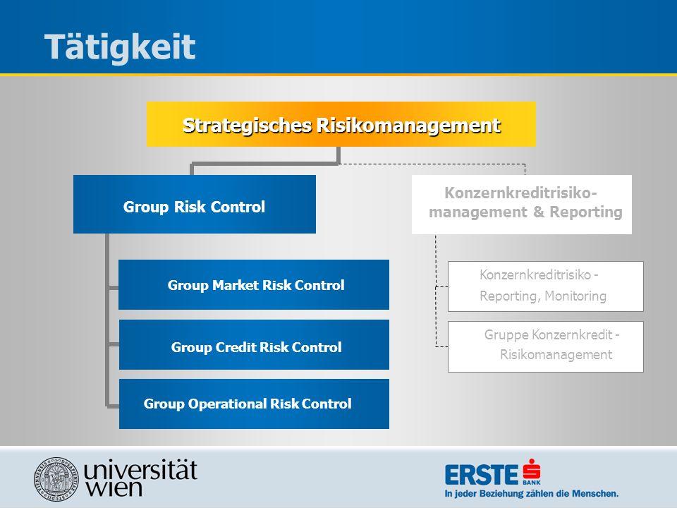Tätigkeit Strategisches Risikomanagement Konzernkreditrisiko-