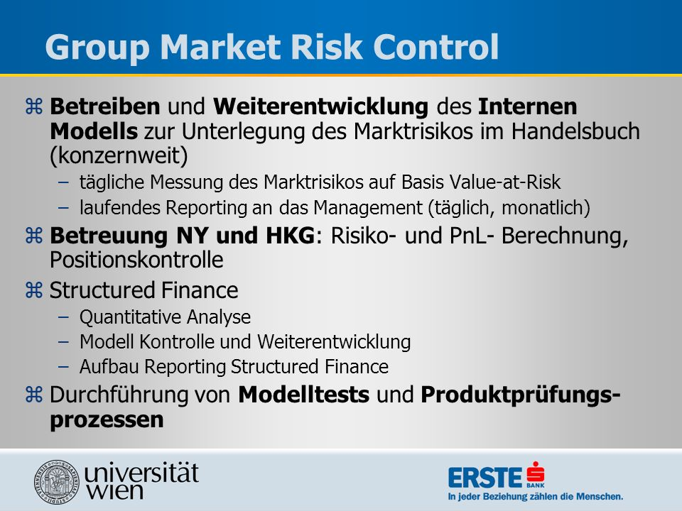 Group Market Risk Control