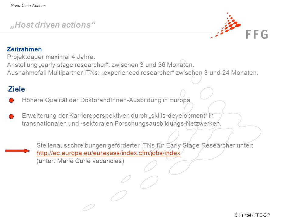 """Host driven actions Ziele Zeitrahmen Projektdauer maximal 4 Jahre."