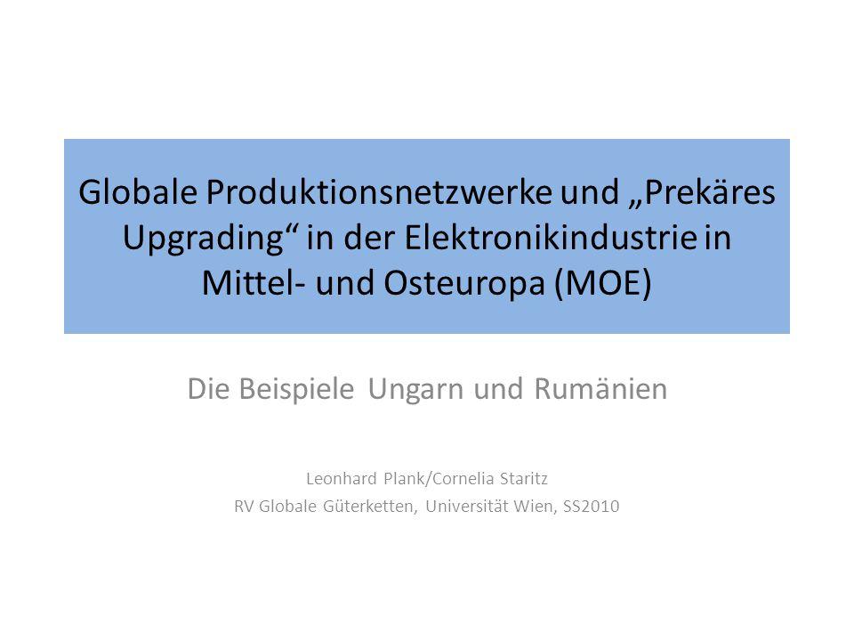"""Globale Produktionsnetzwerke und """"Prekäres Upgrading in der Elektronikindustrie in Mittel- und Osteuropa (MOE)"""