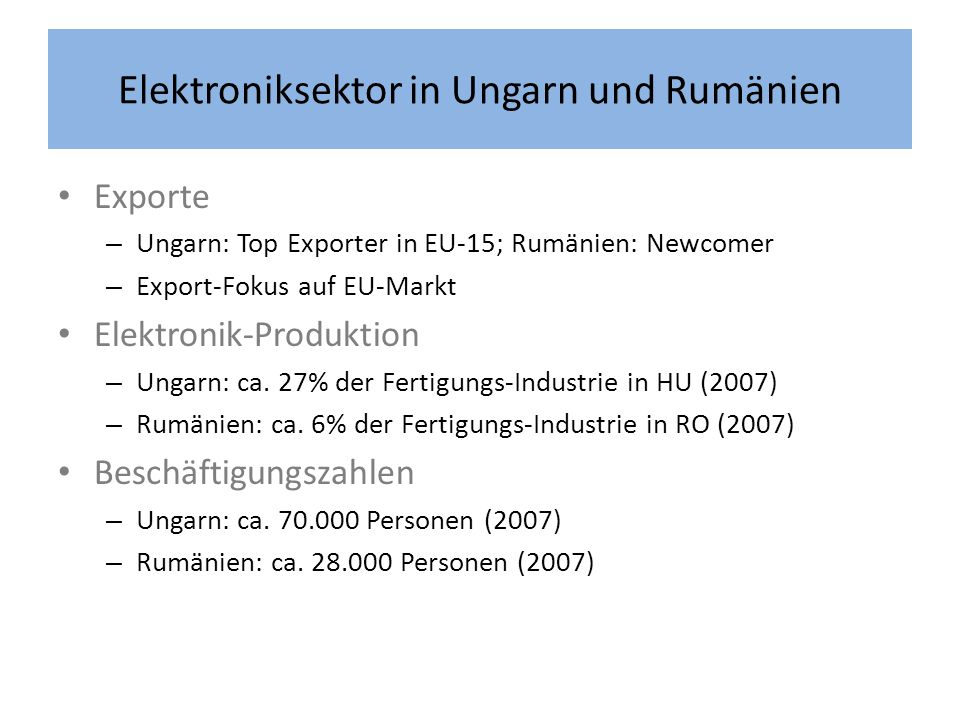 Elektroniksektor in Ungarn und Rumänien